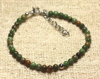 Bracelet 925 sterling silver and semi precious Opal green 4 mm