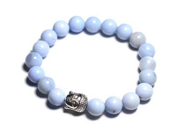 bracelet bouddha et pierre semi pr cieuse agate bleu clair etsy. Black Bedroom Furniture Sets. Home Design Ideas
