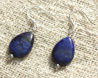 Earrings 925 sterling silver and Lapis Lazuli drops 18x13mm