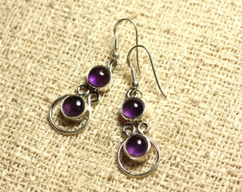 BO201 - Silver 925 28mm - 7mm round Amethyst earrings
