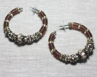 Earrings resin CCB Brown bronze rings hoop earrings - ethnic Vintage french designer - 55mm 8741140026384 circles
