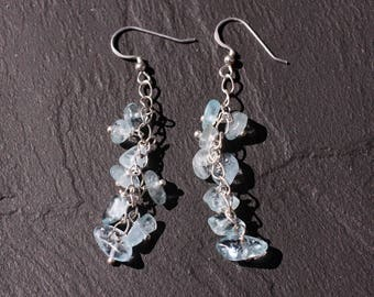 Earrings 925 sterling silver and aquamarine stone