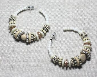 Earrings resin CCB Whitewood cream beige rings hoop earrings 60mm - ethnic Vintage french designer - 8741140026421 circles