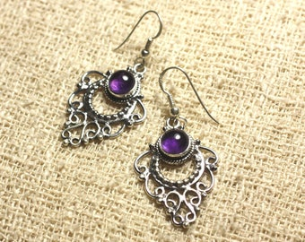 BO204 - Silver 925 30mm - 6mm round Amethyst earrings