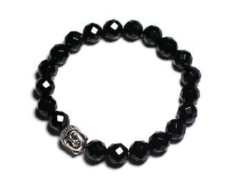 Gemstone - faceted Black Onyx and Buddha bracelet