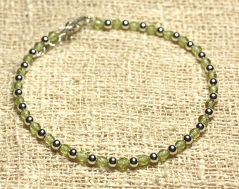 Bracelet 925 sterling silver and stone 3mm faceted Peridot beads