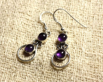 BO201 - Silver 925 28mm - 6mm round Amethyst earrings