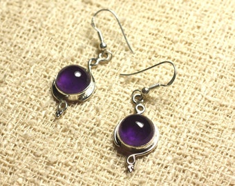 BO213 - Silver 925 26mm - 10mm round Amethyst earrings