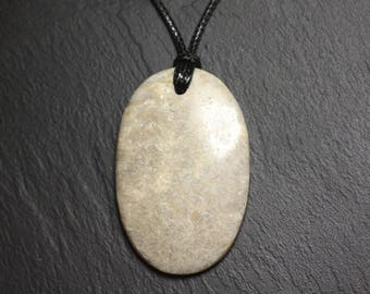 Gemstone - oval 50mm fossil coral pendant necklace