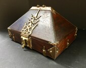 Antique Kerala Ethnic Indian Mahogany Jewelry Box, Dowry Chest with Brass Mounting