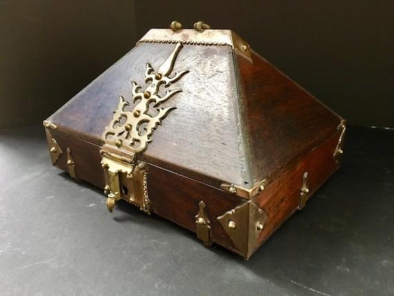 Antique Kerala Ethnic Indian Mahogany Jewelry Box,