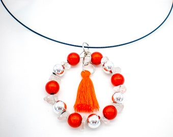 Choker yard black with orange magic pearls, natural stone Quartz Crystal and silver beads, gift, anniversary