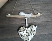 Shabby Chic Driftwood wall decor, white heart decoration, birthday gift idea