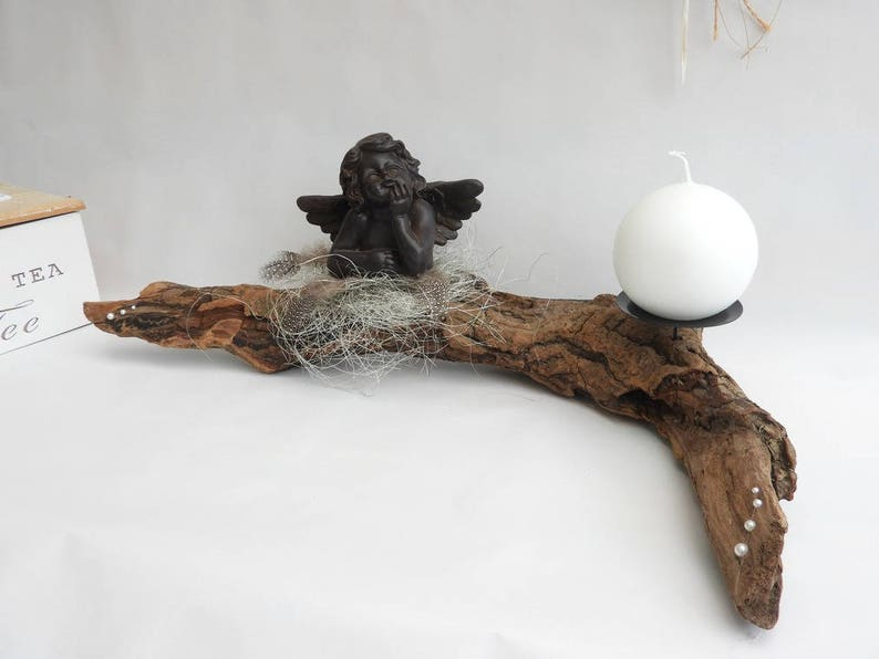 Kandelaar hout centrum tabel deco angel en drijfhout deco etsy