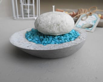 Bougeoir en béton avec bougie galets*style bord de mer -nouvelle zen - bougeoir béton high- déco zen salle de bain