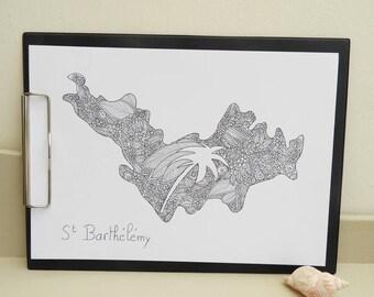 Poster original zentangle island of St Barthélémy FWI /illustration