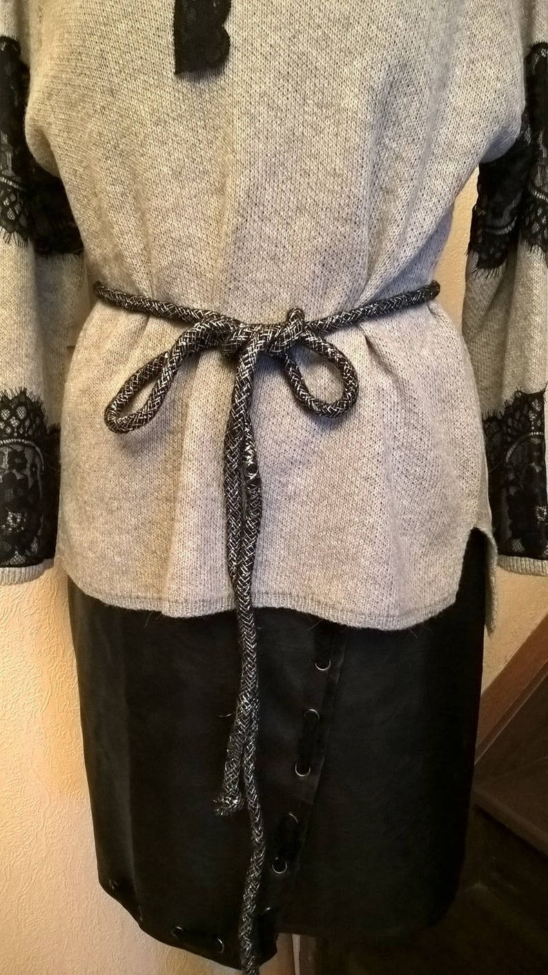 fashion woman in black cotton cord and silver lurex Belt women woman accessories clothing girl gift women gift