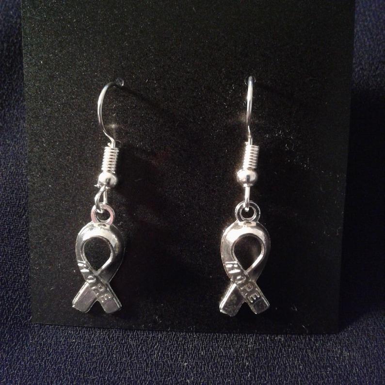 Hope Ribbon Charm Dangle Silver Tone Earrings