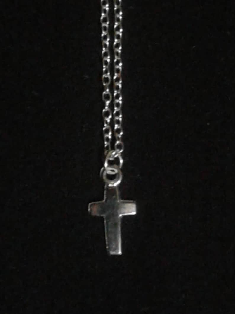 Cross Charm Silver Tone Necklace with Lobster Claw Clasp