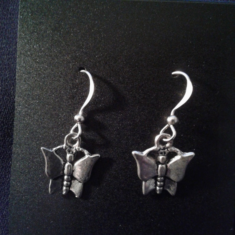 Butterfly Charm Dangle Silver Tone Earrings