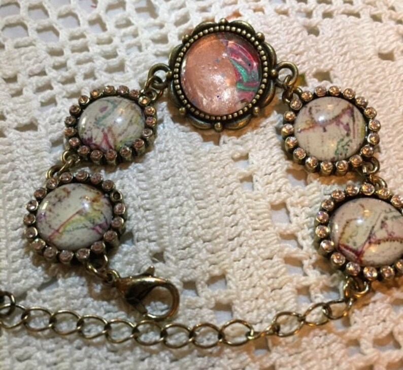 Beaded Acrylic Pour Hand Crafted Wearable Art Bracelet