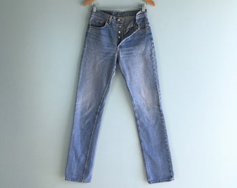 3654bf6f 90s 501 Button Fly Levi's Jeans//Light Wash/Faded/Straight Leg/29W  36L/Amazing!!