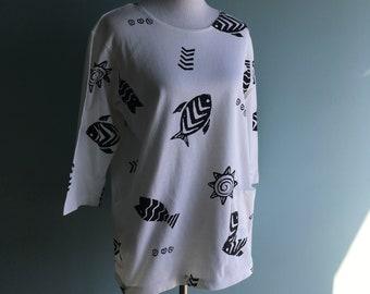 90s Fish Print/Sun Print Long Sleeve Shirt//Black & White//Pop Art