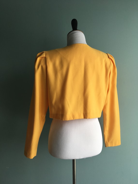 80s/90s Yellow Linen Cropped & Puffed Sleeve Bole… - image 4