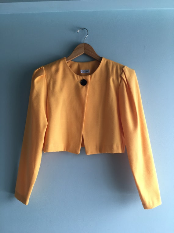80s/90s Yellow Linen Cropped & Puffed Sleeve Bole… - image 8