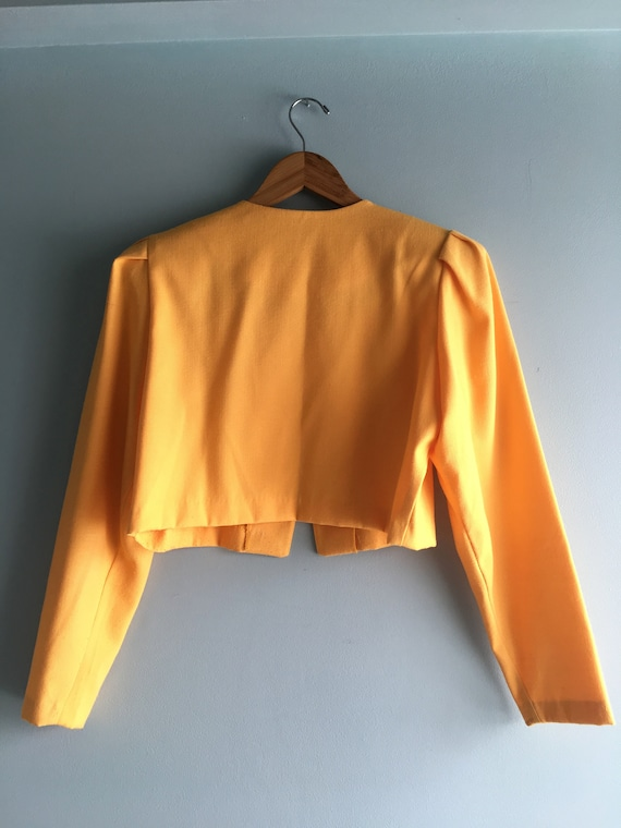 80s/90s Yellow Linen Cropped & Puffed Sleeve Bole… - image 9