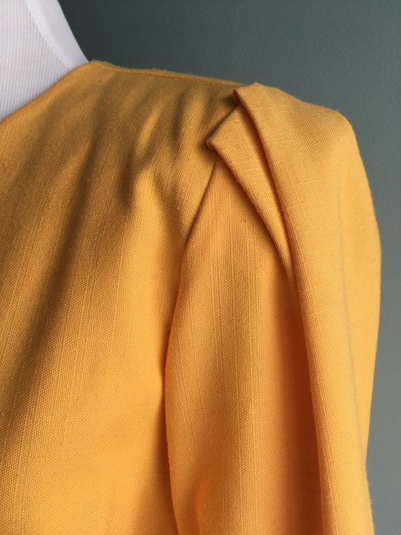 80s/90s Yellow Linen Cropped & Puffed Sleeve Bole… - image 6
