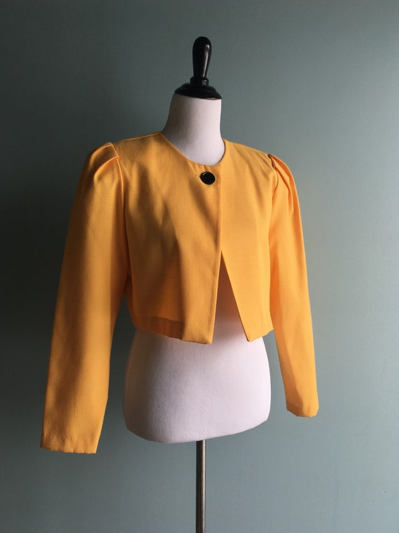 80s/90s Yellow Linen Cropped & Puffed Sleeve Bole… - image 1