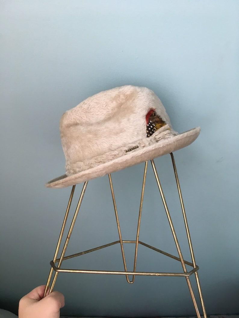 e0a808c2a50 Vintage Shaggy n Shiny Cream Fur Fedora//Round | Etsy