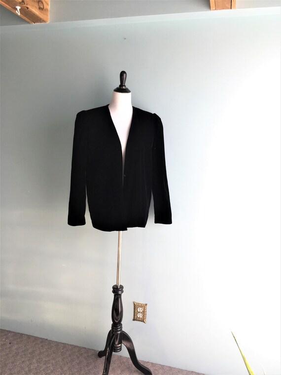 70s/80s Black Velour Blazer//Loose/Open/Oversized/
