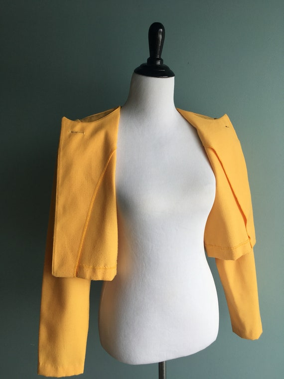 80s/90s Yellow Linen Cropped & Puffed Sleeve Bole… - image 5