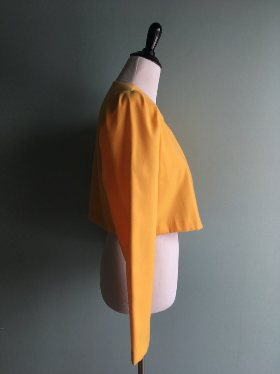 80s/90s Yellow Linen Cropped & Puffed Sleeve Bole… - image 3