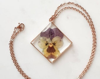Wood Porcelain and Resin Purple and Gold Pansy Flower Round and Oval Pendant with Black Wax Cord Great Gift for the Flower Lover Christmas