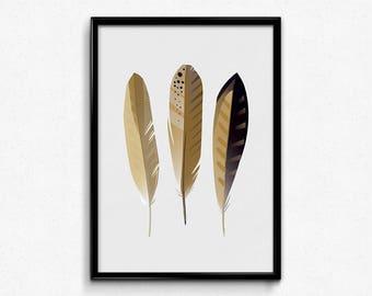 Feather print, printable art, art prints, minimal feather print, Digital print, home decor, Feather wall art, feather decor, 50x70