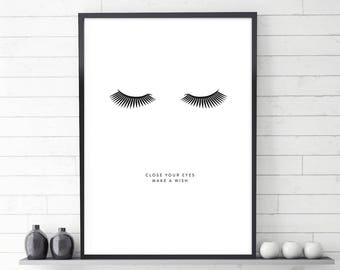 Lashes Poster, Close your eyes, Make a wish, Printable Poster, Lashes Print, Motivational, Fashion Poster, Lashes Art, Closed eyes, Large