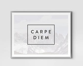 Carpe Diem Print, Printable Wall Art, Seize The Day, Motivational Print, Modern Wall Art, Instant Download, Wall Print, Large size, 4 sizes