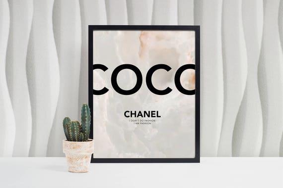 Coco Chanel Affiche Citation De Coco Chanel Chanel Affiche Téléchargement Numérique Grand Format 4 Tailles Mode Poster Marbre Wall Art