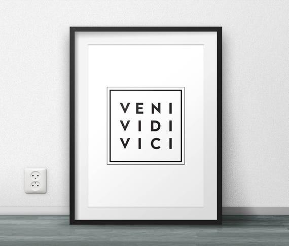 Veni Vidi Vici Berühmte Zitate Lateinische Phrase Julius Caesar Sieg Feier Klassischelate Druckbare Zitat Modern Minimal