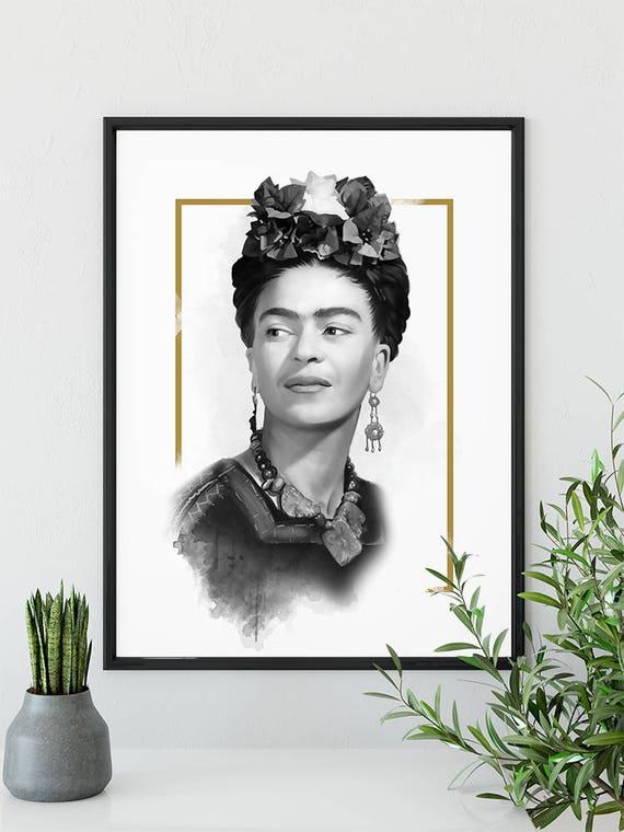 Frida Kahlo Art Frida Kahlo Plakat Frida Kahlo Portret Celebrity Portrait Frida Kahlo Ilustracja Digital Download Duży Rozmiar