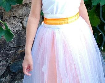 Wedding: Underskirt in tulle and apricot taffeta skirt bottom