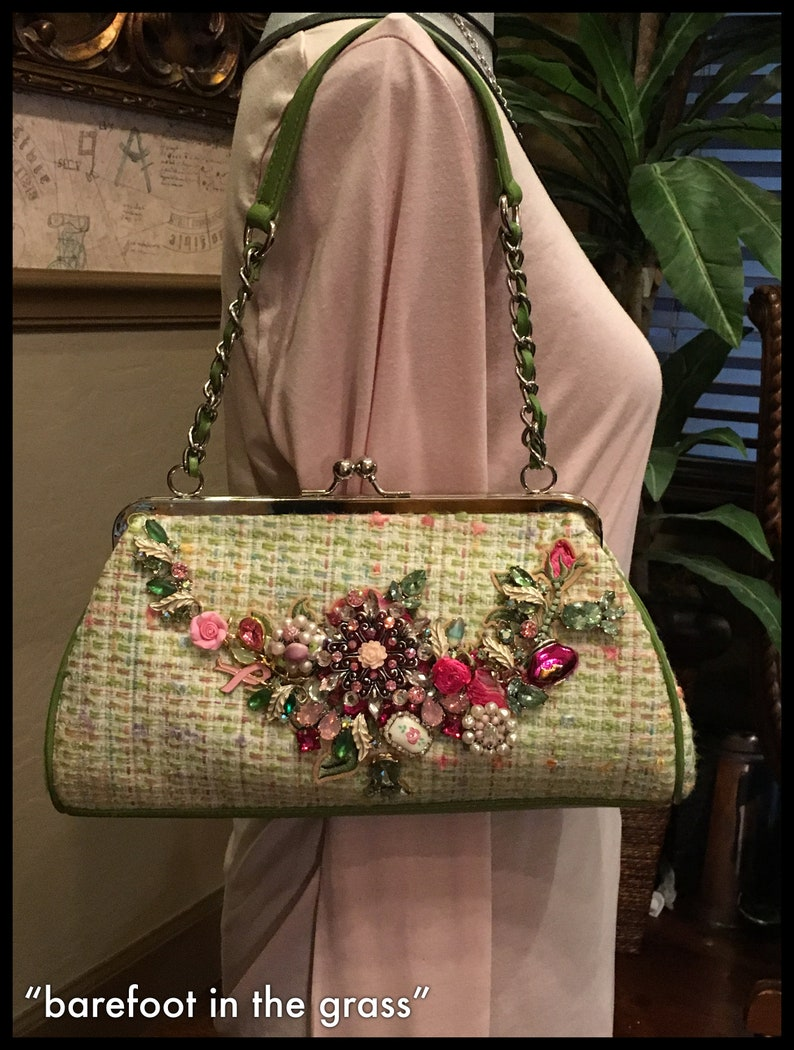 Vintage embellished Green Tweed Top handle with optional crossbody chain Springtime purse SALE Easter purse