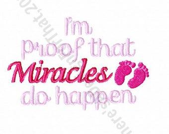 Newborn baby embroidery design, I'm proof miracles happen baby embroidery design, new baby embroidery design, baby feet embroidery