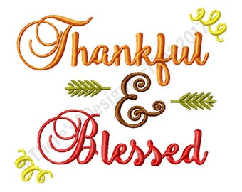 Thanksgiving embroidery design, blessed embroidery design, thankful embroidery design, fall embroidery design