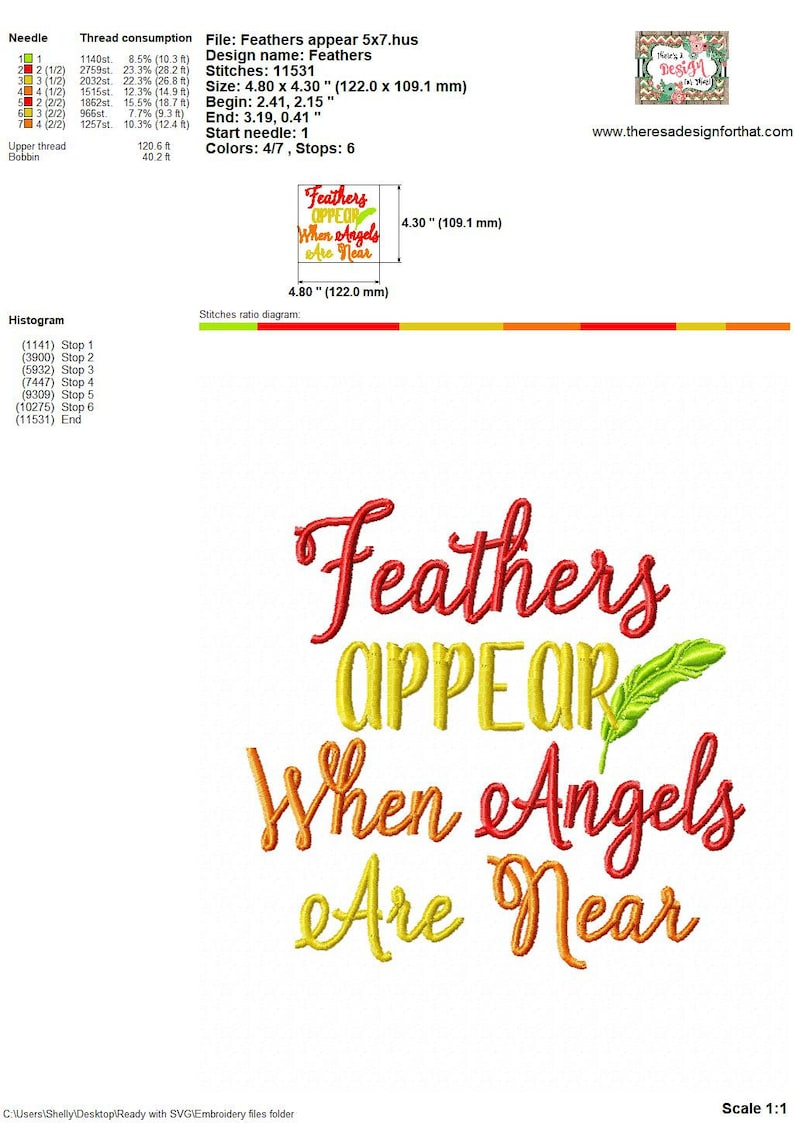 Angels embroidery design, Feathers appear when Angels are near embroidery  design, feather embroidery design