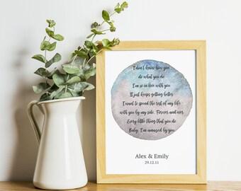 Personalised Song Lyrics Wall Art Custom Wedding Vows Print   Etsy
