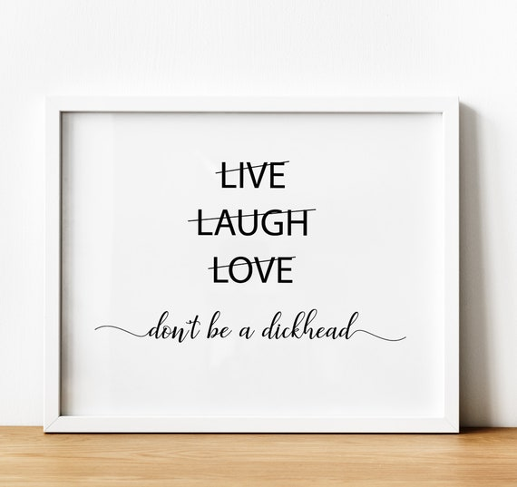 Funny Live Laugh Love Quote Prints Minimalistic Above Bed Etsy